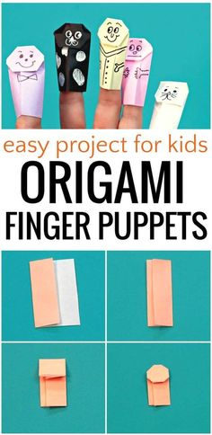 How to make origami finger puppets. Use post-it notes or origami paper to make cute, fun and easy finger puppets. A great craft for library story time or a classroom time filler. Easy Arts And Crafts, Paper Crafts Origami, Paper Crafts For Kids, Easy Crafts For Kids, Diy For Kids, Crafts To Make, Oragami, Kids Origami, How To Make Origami
