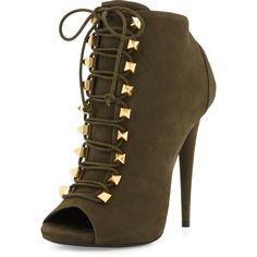 Giuseppe Zanotti Suede Lace-Up High-Heel Bootie (£415) ❤ liked on Polyvore featuring shoes, boots, ankle booties, ankle boots, green, high heel booties, suede boots, open toe ankle boots et suede lace-up booties