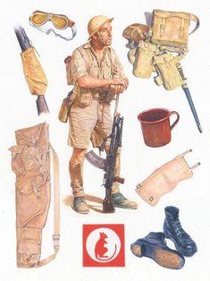 """""""Desert Rat, 1940-1943"""" Un artillero británico Bren del octavo ejército, que llevaba orden de combate y rodeado de artículos de ropa y equipo usado o llevado en el desierto occidental.  De: Osprey Publishing, Guerrero 160 - Desert Rat, 1940-1943"""