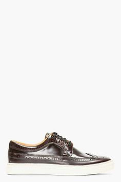 Paul Smith Jeans Chocolate Brown Leather Brogued Sneakers for men | SSENSE