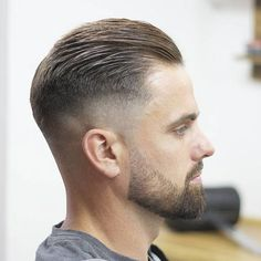 High Bald Fade + Short Slick Back Hair + Beard