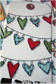 Stamped Heart Garland by Stephanie Ackerman Valentines Art, Valentine Day Love, Card Tags, Gift Tags, Shrink Art, Scrapbook Cards, Scrapbooking, Doodle Drawings, Paper Cards