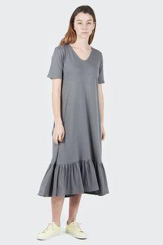 GOOD AS GOLD   Streetwear, Fashion, Sneakers & Accessories — Building Block Gather Hem Dress - dove grey