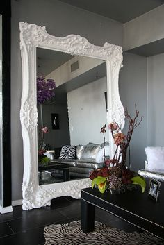 Huge White Mirror Solid Wood Hand Carved by Diva Rocker Glam (424) 245 4503, via Flickr