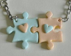 Items similar to BFF Puzzle Pieces Friendship Keychains - Set of 2 Personalized Best Friends Forever Keychains, Best Friends Accessory, BFF Keychains on Etsy Cute Polymer Clay, Cute Clay, Fimo Clay, Polymer Clay Charms, Polymer Clay Projects, Polymer Clay Creations, Clay Crafts, Polymer Clay Jewelry, Tape Crafts