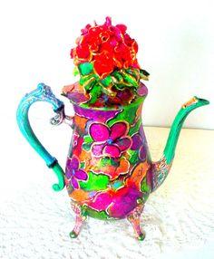 Vintage Teapot Hand Painted Tea Set Victorian Home Decor Silver Tea Pot Altered #Leonards