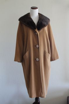 1940's Cashmere Coat with Chocolate Mink by StickShiftVintage, $108.00