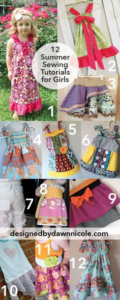 12 Summer Sewing Tutorials for Girls #sewing