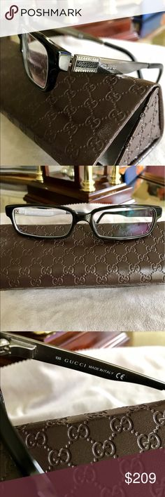 💯 Authentic Gucci eyewear 💯 Authentic Gucci Eyewear with matching eyeglass Case!  Worn maybe 3 Times, Looks Brand New! Beautiful Classy Black frame with a gunmetal/ Silver side with crystal black and clear stones 💎. Made in Italy 🇮🇹 Gucci Accessories Glasses