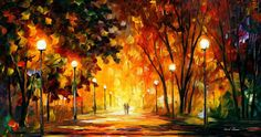 """Away From The Sun — PALETTE KNIFE Landscape Oil Painting On Canvas By Leonid Afremov - Size: 36"""" x 20"""""""