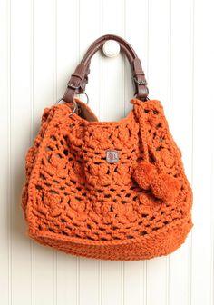 fresh persimmon crochet shoulder purse by ZL from Ruche. Love Crochet, Crochet Hooks, Knit Crochet, Crochet Shoulder Bags, Shoulder Purse, Crochet Handbags, Crochet Purses, Crochet Bags, My Bags