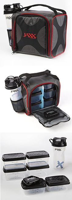 Jaxx Pack with Portion Control Containers & Shaker Cup - a compact on-the-go way to take lunch with you to work, the beach, picnics. Perfect for kids' camp and back-to-school, too.
