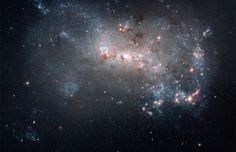 Hubble Images Stretched Canvas Print: Stellar Fireworks Ablaze in Galaxy NGC 4449 : - Galaxy Images, Hubble Images, Carl Sagan, Constellations, Cosmos, Photomontage, Star Formation, Hubble Space Telescope, Light Year