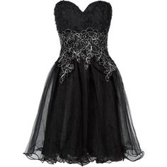 Chi Chi Black Rose Embroidered Strapless Prom Dress
