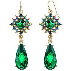 1928 Nickel Free Starburst & Faceted Teardrop Earrings ($21) ❤ liked on Polyvore featuring jewelry, earrings, green, nickel free jewelry, sparkly earrings, sparkly drop earrings, earring jewelry and green teardrop earrings
