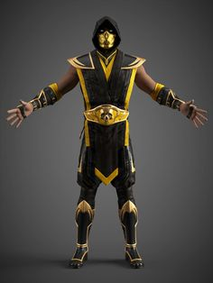 Scorpion (Gold Demon Costume) by MclarenH on DeviantArt Mortal Kombat Unchained, Mortal Kombat 2, Skorpion Mortal Kombat, Lord Raiden, Character Inspiration, Character Art, Mortal Kombat X Wallpapers, Demon Costume, Famous Warriors