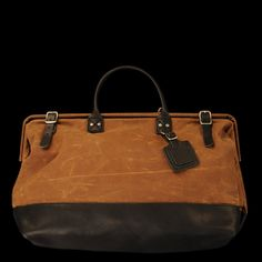 Billykirk  Large Carryall in Sienna Waxed Cotton and Black Leather