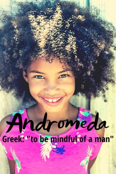 """Andromeda was an Ethiopian princess saved from being sacrificed to a sea monster by Perseus in Greek mythology. This name means """"to be mindful of a man"""" and is of Greek origin. Andi would be a cute nickname. It was not ranked in the top 1000 names for baby girls in 2018 so it is definitely still a unique name.   #greeknames #uniquenames #girlnames Modern Baby Girl Names, Baby Names, Greek Names, Cute Nicknames, Unique Names, Writing Resources, Greek Mythology, Mindful, Baby Girls"""