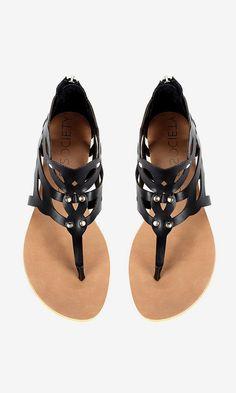 Laser cut gladiator sandal in black