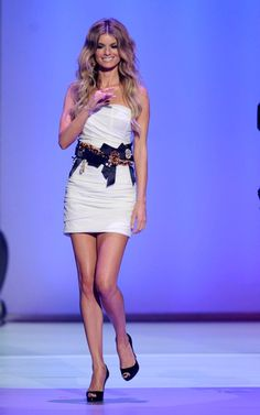 great white dress with really cool belt, Marisa Miller