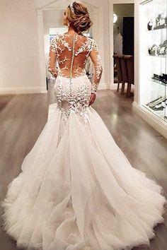 Long Sleeve Lace Mermaid Wedding Dresses, Sexy See Through Long Custom – LoverBridal