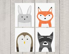 Woodland Nursery Art Print Set by DeliveredByDanielle on Etsy