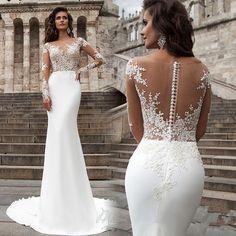 Mermaid Wedding Dresses Illusion Neck Long Sleeves Court Train Button Back