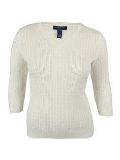 Karen Scott Women's 3/4 Sleeves Cable Knit Sweater