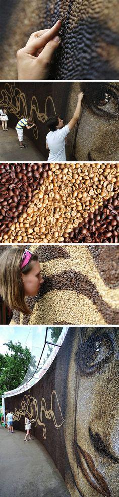 Mosaico feito com 1 milhão de grãos de café entra para o Guinness
