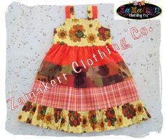 Custom Boutique Clothing Fall Autumn Thanksgiving Turkey Aline Jumper Tiered Twirl Dress