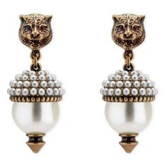 Gucci Silver-tone Faux Pearl Earrings - White WZ100PUJ