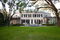 Whitewashed brick - River Oaks Residence - traditional - exterior - houston - Laura U, Inc. Traditional Exterior, Traditional House, Traditional Design, Colonial Exterior, Modern Colonial, Brick House Designs, Brick Design, Painted Brick Exteriors, Houston Houses