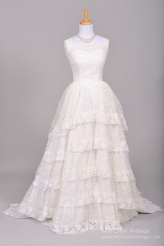 1950 Princess Lace Vintage Wedding Gown , Vintage Wedding Dresses - 1950 Vintage, Mill Crest Vintage  - 1