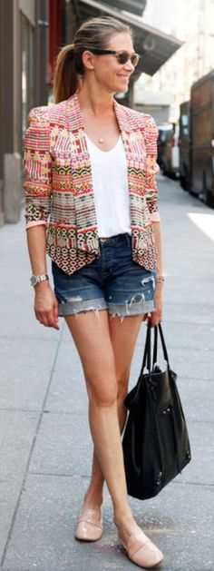 I like the idea of a structured/professional blazer paired with denim cut-offs.