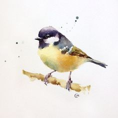 Watercolor Tit Bird Original Painting 7 4/5 x 7 by CMwatercolors, $50.00 | pinned by KimbaLikes.com