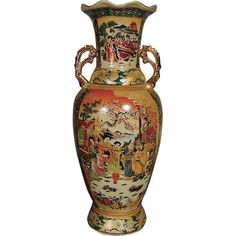 """Geisha Vase w/ Handles Imperial Japanese Hand Finished 24"""" H New Free Shipping #rt"""