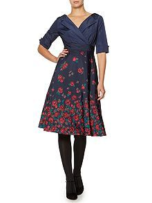 Lady rose floral shirt dress