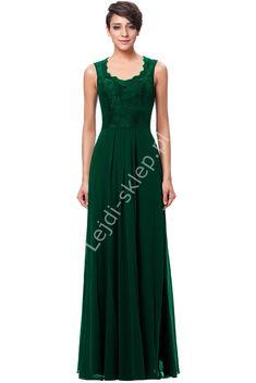 Green long evening dress. Zielona szyfonowa skromna suknia z koronką | zielona suknia dla mamy, świadkowej