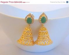 20 OFF Emerald Green Bell Dangle Statement by RumiCollections