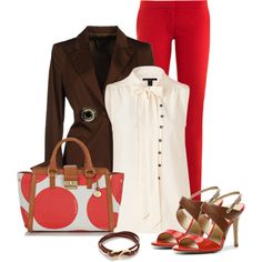"""""""Red and brown"""" by oxigenio on Polyvore"""
