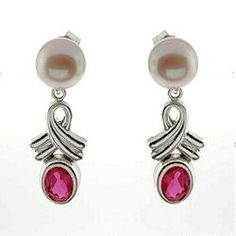Fresh Water Cultured Pearl with Lab Created Ruby Ovals.