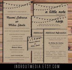Rustic Wedding Invitation - Retro Kraft paper, RSVPs, insert, strung lights, rustic wedding, rustic invitations, kraft paper invitations. $60.00, via Etsy.
