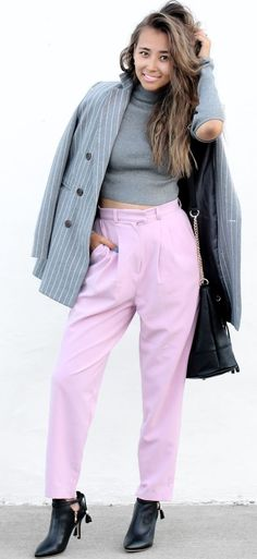 Different Colors & Different Styles Gray On Pink Fall Street Style Inspo