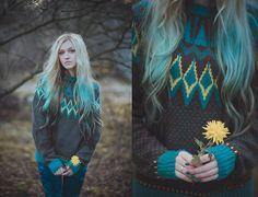 Second Hand Maxi Sweater, Turquoise Velvet Leggings