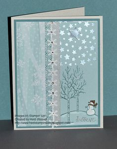 Believe by Heidi Weaver (Alberta, Canada). Love the whimsical expression on the little snowman's face. The snowflakes are glued on top of Washi tape. There are little rhinestones in the centres, hiding the holes.
