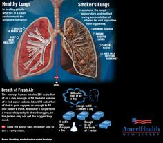 smokers lungs vs. healthy lungs infographic
