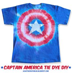 DIY Captain America tie dye shirt. Sweet.