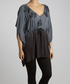 Highness NYC Gray Ombré Floral Tunic - Plus | zulily
