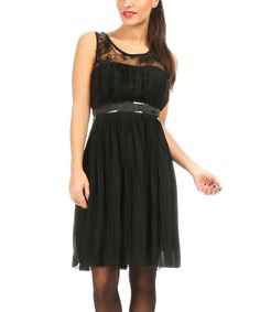 Look at this Black Lace-Yoke Pleated Sleeveless Dress - Women on #zulily today!