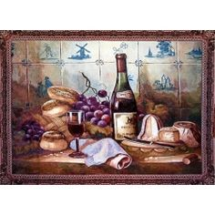 Wine Grapes and Bread Tapestry Wall Hanging
